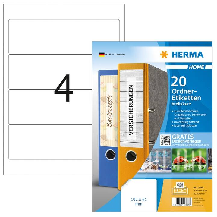 HERMA Ettiquettes (A4, 192 x 61 mm, 5 feuille, PEFC)