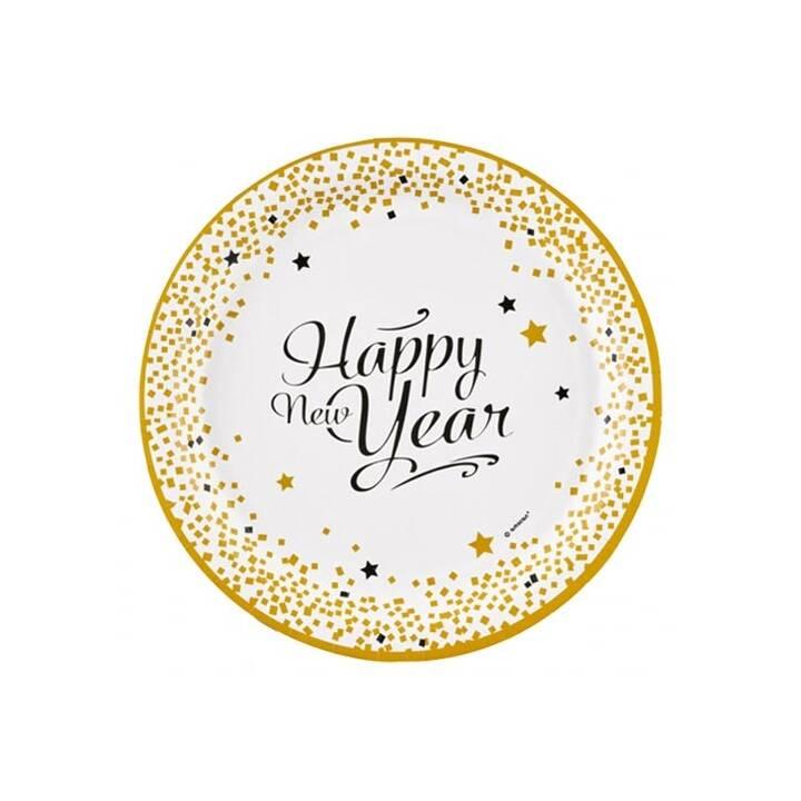 AMSCAN Happy New Year piatti monouso (23 cm, 8 pezzo)