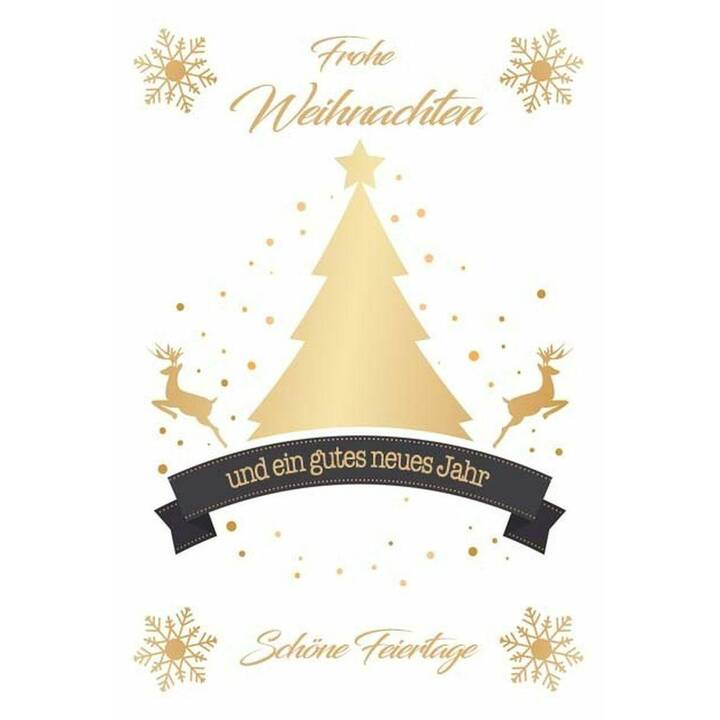 SEIDEL Weihnachtskarte (Weihnachten / Advent, C6, Gold, Weiss)