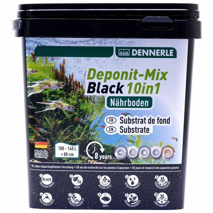 DENNERLE Substrato di fondo fertilizzante per piante acquario (Nero, 4.8 kg)