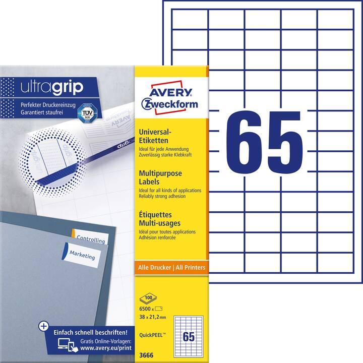 AVERY ZWECKFORM 3666 ultragrip Etiketten (A4, 38 x 21.2 mm, 100 Blatt)