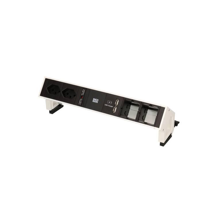 BACHMANN Prise multiple Desk (T13, USA, Type A, 200 mm, Blanc, Noir)