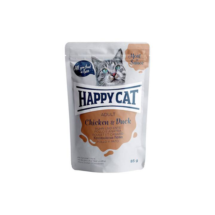 HAPPYCAT Meat in Sauce (Adulto, 85 g, Maiale, Pollo, Anatra)