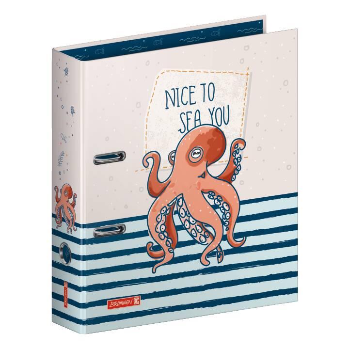 BRUNNEN Raccoglitore Happy Ocean Oktopu (A4, 7 cm, Multicolore)