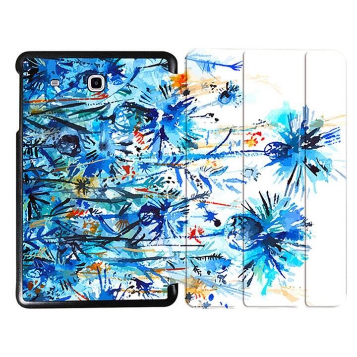 """EG MTT Tablet Tasche mit faltbarer Abdeckung für Samsung Galaxy Tab E 9.6 """"- Blaue Blumen"""