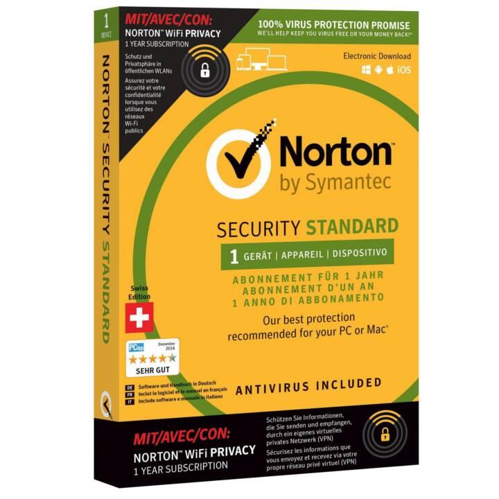 NORTON Security Standard inkl. WiFi Privacy Box (Abbonamento, Italiano, Tedesco, Francese)