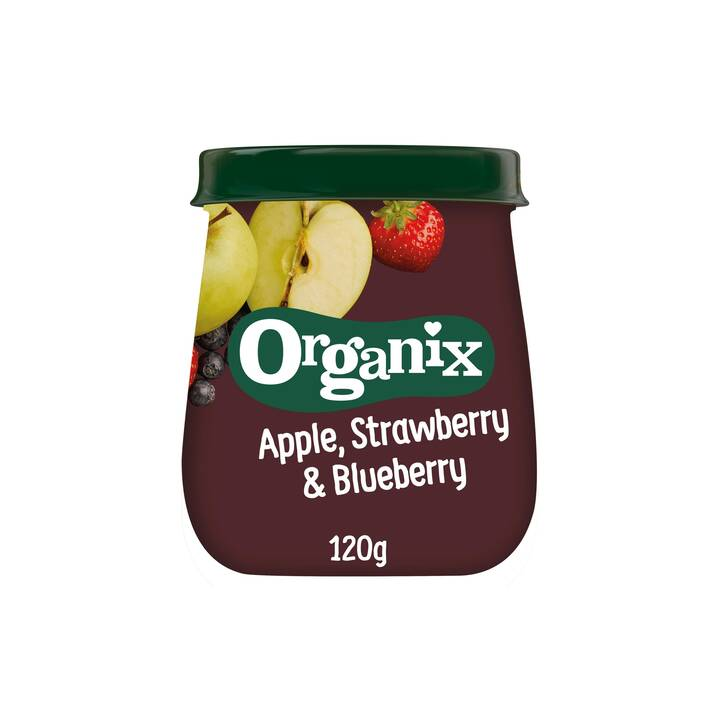 ORGANIX Apple Strawberry & Blueberry Fruchtpüree Brei (120 g)