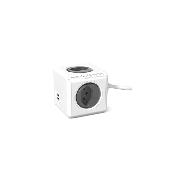 ALLOCACOC Steckdosenleiste PowerCube Extended USB (USB, CH, Typ J, 1.5 m, Weiss, Anthrazit)