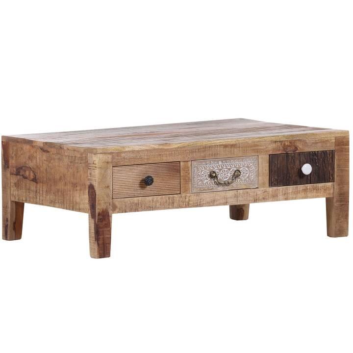 MUTONI VINTAGE Tavolino da salotto Multiple Ornament (37 cm, Marrone, Natura, Bianco)