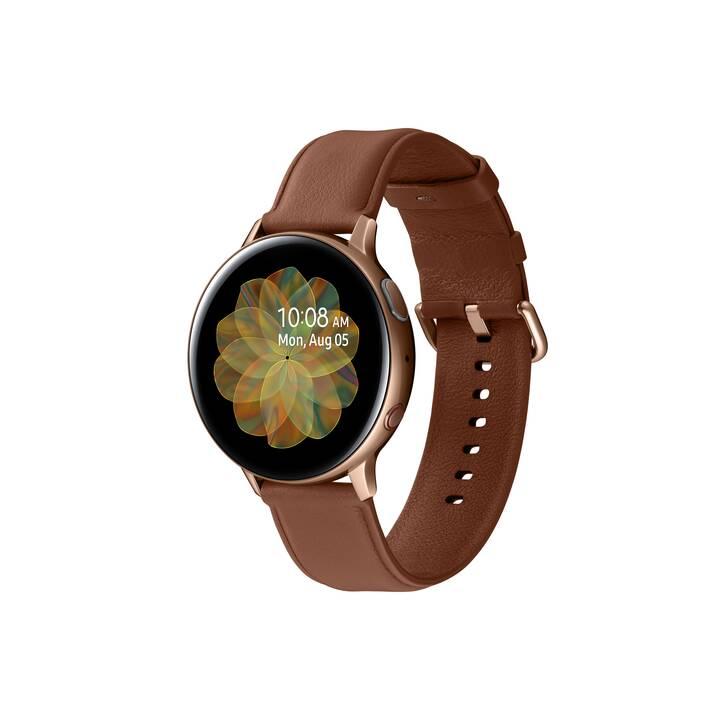SAMSUNG Galaxy Watch Active 2 LTE (44 mm, Acciaio Inox, Vera pelle)