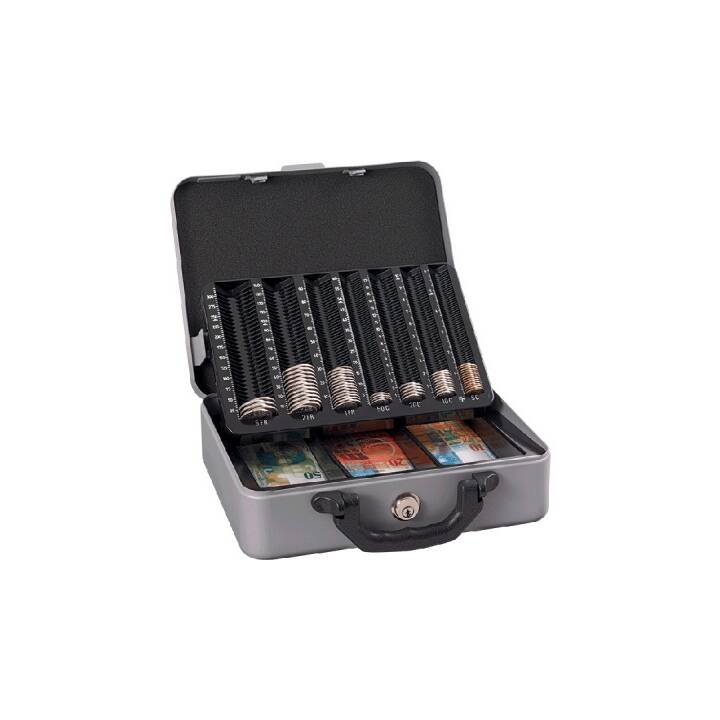 RIEFFEL Moneta Deluxe Geldkassette, 30 x 24,2 x 10,2 cm, Silber