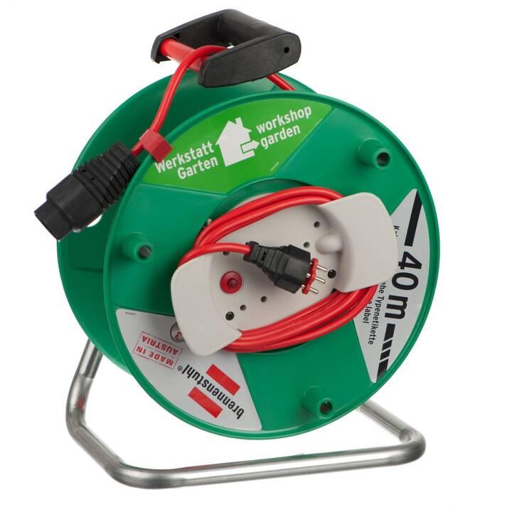 BRENNENSTUHL Enrouleur de câble (T13 / T12, 40000 mm, Vert, Rouge)
