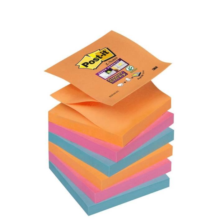 3M Notizzettel Post-it Super Sticky Z-Notes 7,6 x 7,6 cm, Farbig