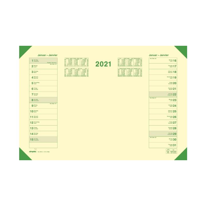 SIMPLEX Sottomano (Giallo, Verde, 47.7 cm x 32.5 cm)