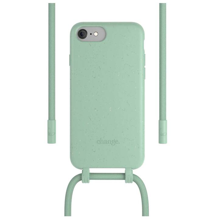 WOODCESSORIES Backcover con cordoncino Change Case (iPhone SE, Antibatterico, Verde)