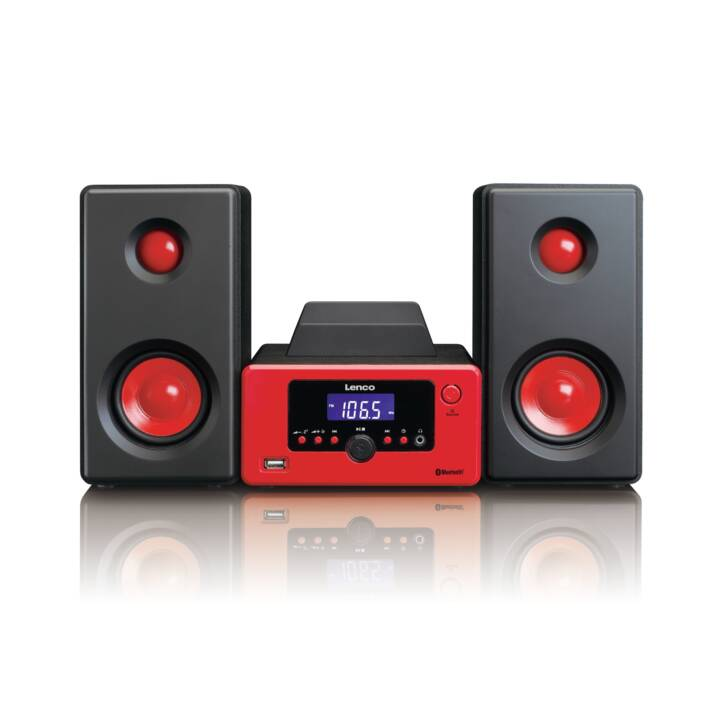 LENCO MC-020 (Nero, Rosso, Bluetooth, Radio)