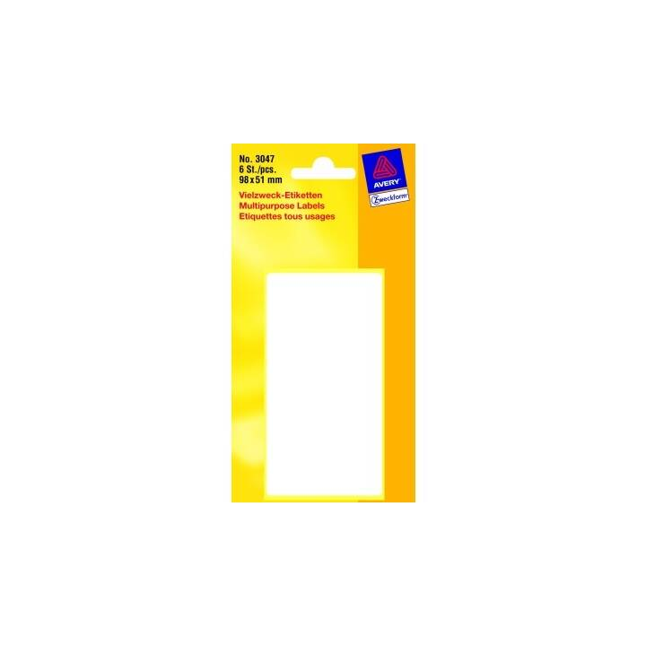AVERY ZWECKFORM Etiketten, 98×51mm, 6 Stück