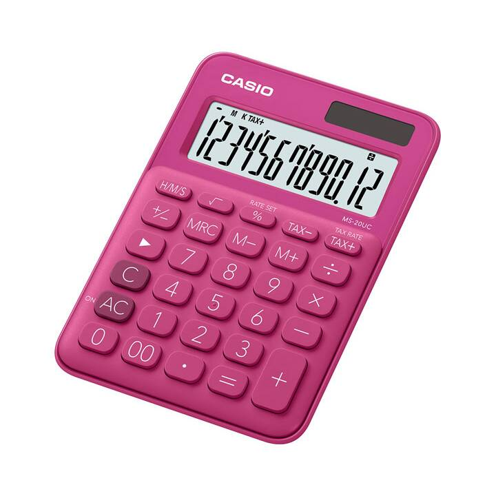 CASIO MS-20UC-RD Calculatrice de bureau simple Calculatrice de poche rouge Calculatrice de poche rouge