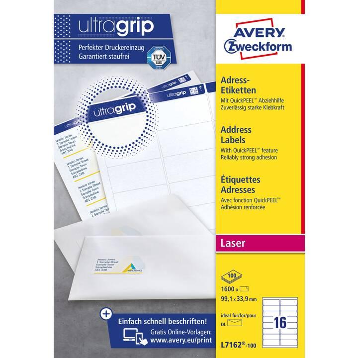 AVERY ZWECKFORM L7162-100 ultragrip Etiketten (A4, 99.1 x 33.9 mm, 100 Blatt)