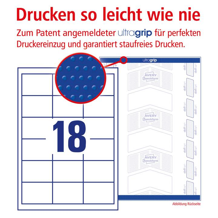 AVERY ZWECKFORM 3671 ultragrip Etiketten (A4, 64 x 45 mm, 100 Blatt)