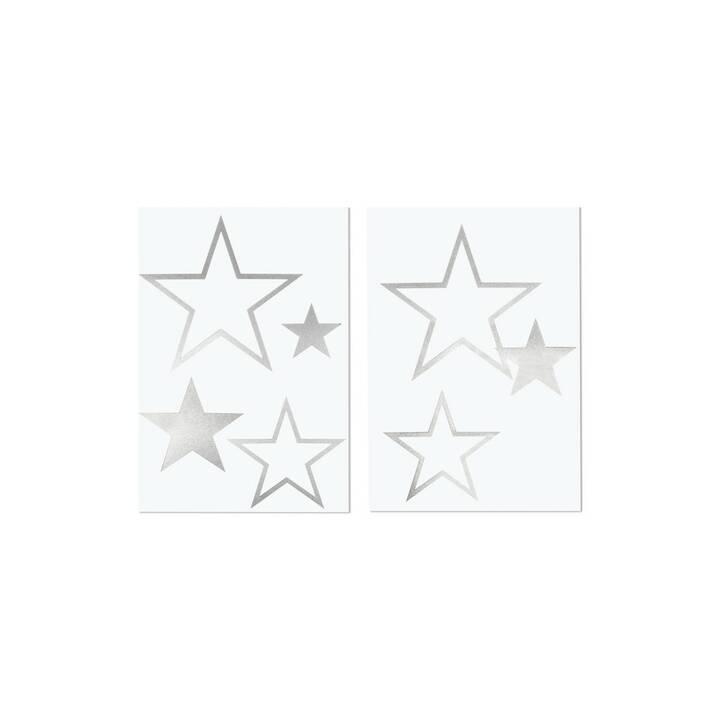 RAYHER Pelicolle adesive star 4 - 14.5 x 4 - 11.5 cm (Argento)