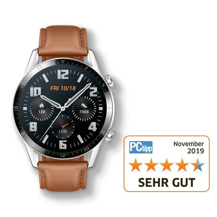 HUAWEI Watch GT 2 Brown (46 mm, Kunststoff, Echtleder)