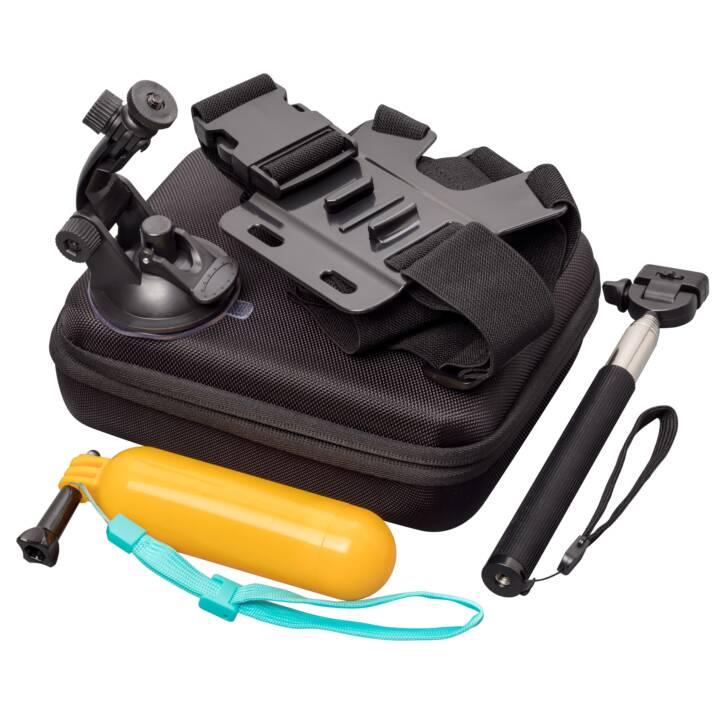 INTERTRONIC Action Cam Kit 10 in 1 Diversi accessori (Nero, Arancione, Blu)