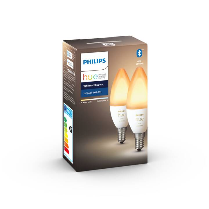 PHILIPS HUE Ampoule LED White Ambiance 2x BT (E14, Bluetooth, 5.3 W)