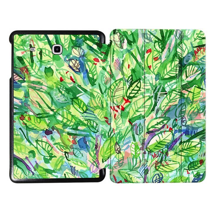 """EG MTT Tablet Tasche mit faltbarer Abdeckung für Samsung Galaxy Tab E 9.6 """"- Grüne Blätter"""