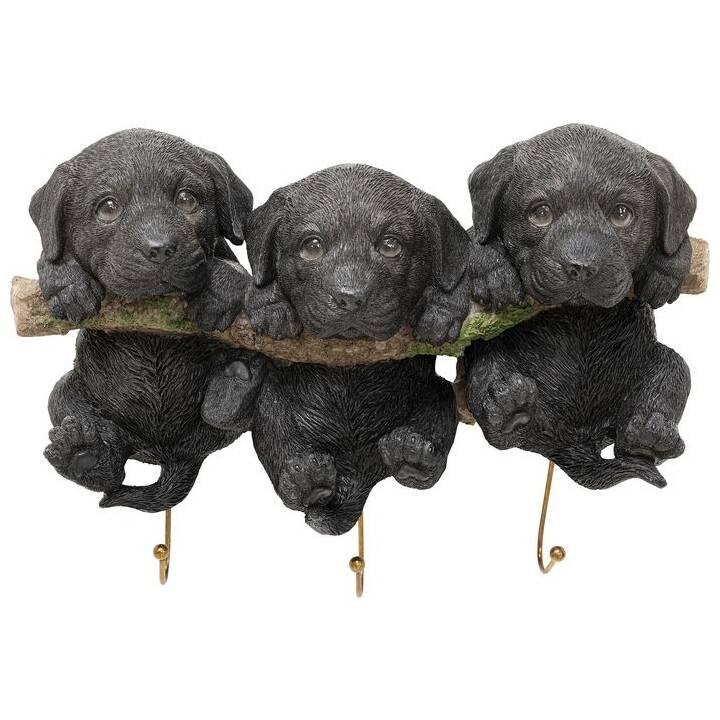 KARE Ganci da parete Three Mini Dogs (Nero)