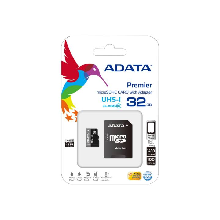 ADATA MicroSDHC Premier (UHS-I Class 1, Class 10, 32 GB, 30 MB/s)