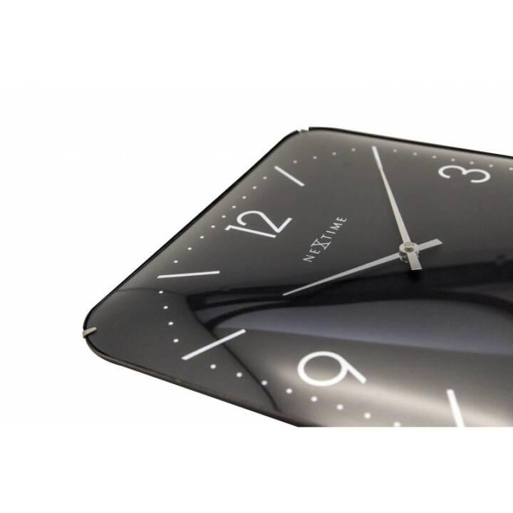 NEXTIME Wanduhr Basic Square Schwarz 35 cm