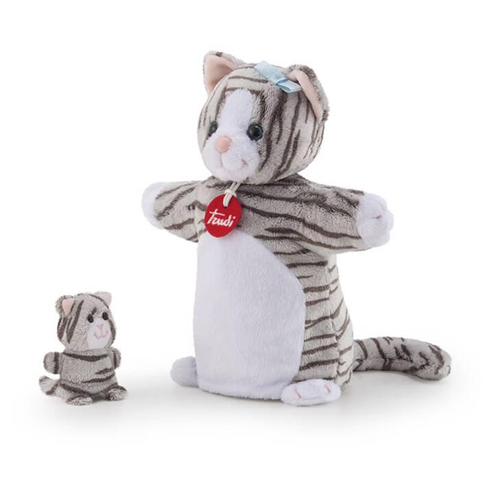TRUDI Handpuppe & Baby Katze (23 cm, Grigio)