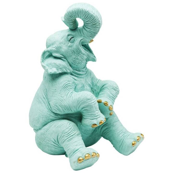KARE Salvadanaio Happy Elephant (Blu chiaro, Oro)
