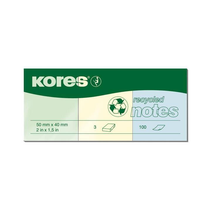 KORES Notes autocollantes recycling (4 cm x 5 cm, Multicolore)