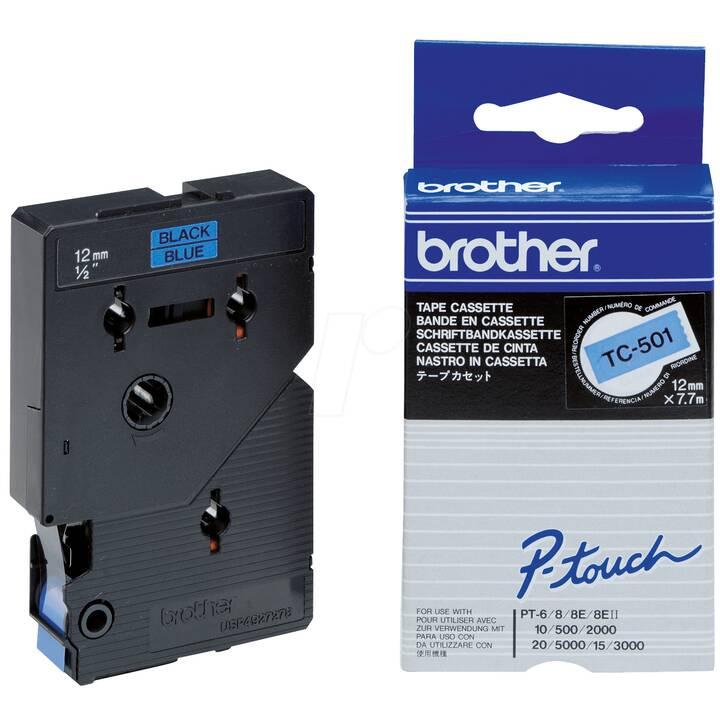 TC-Schriftband 12 mm, schwarz/blau