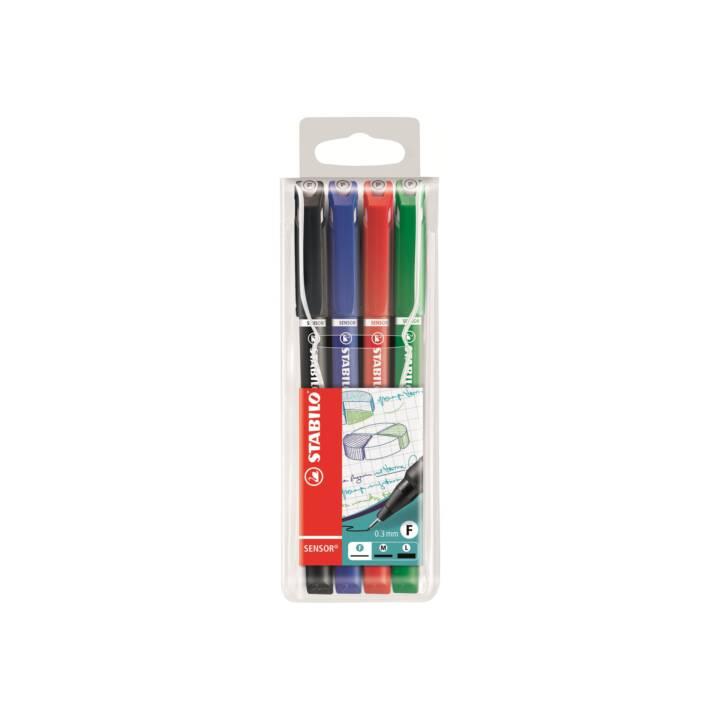 STABILO capteur de stylo fin 0,3mm(F) 4 couleurs