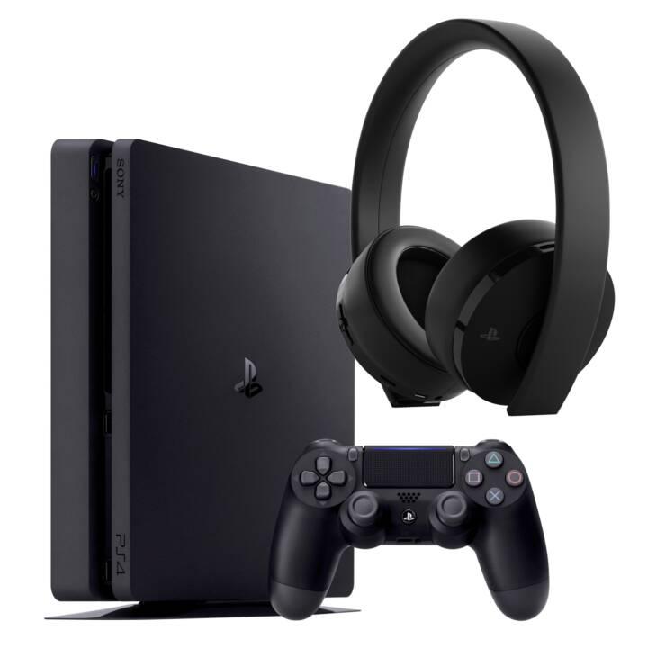 SONY Playstation 4 Slim 500 GB Jet Black inkl. Wireless Headset Gold Edition