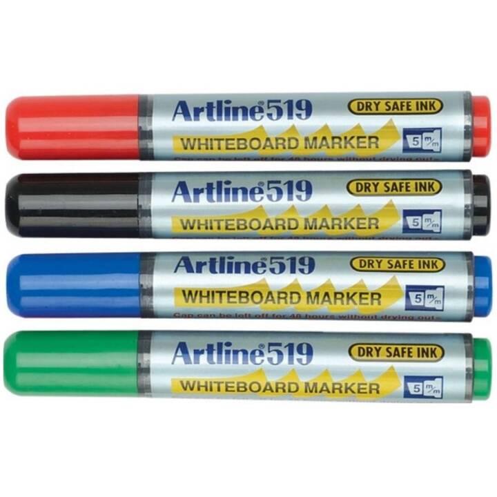 ARTLINE Marqueur pour tableaux blancs 519 (Bleu, Noir, Rouge, Vert, 4 pièce)