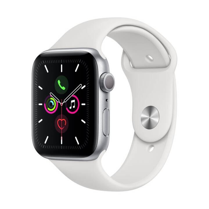 APPLE Watch Series 5 GPS Silber/Weiss (44 mm, Aluminium, Silikon)