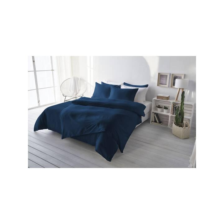 LIVING HOME Copripiumone Uni Satin (240 cm x 240 cm, Blu scuro)