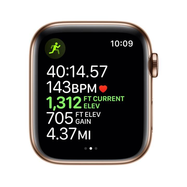APPLE Watch Series 5 GPS + LTE Gold/Stein (44 mm, Edelstahl, Silikon)