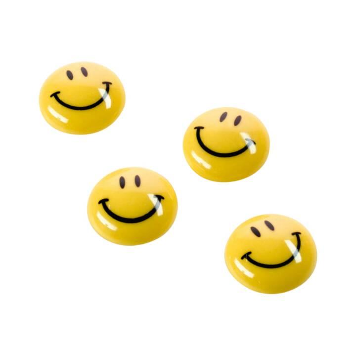 MAGNETOPLAN Smiley Magnete gelb-schwarz 40mm 4 Stk.