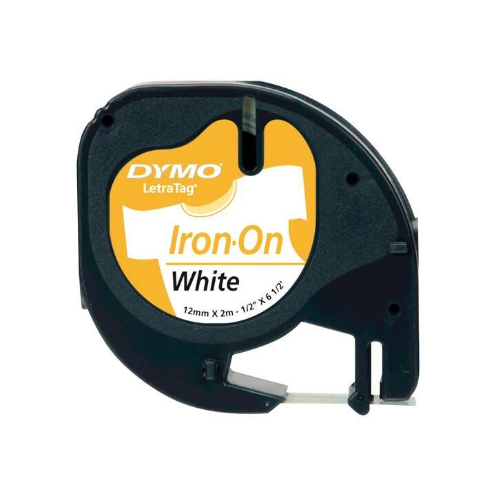 DYMO LetraTag Iron-on Ruban d'écriture (12 mm x 2 m, Noir / Blanc)