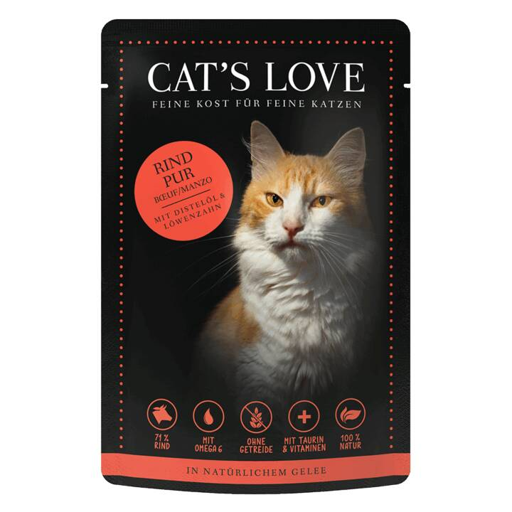 CAT'S LOVE Pur (Adulto, 85 g, Manzo, Dente di leone, Olio di cartamo)