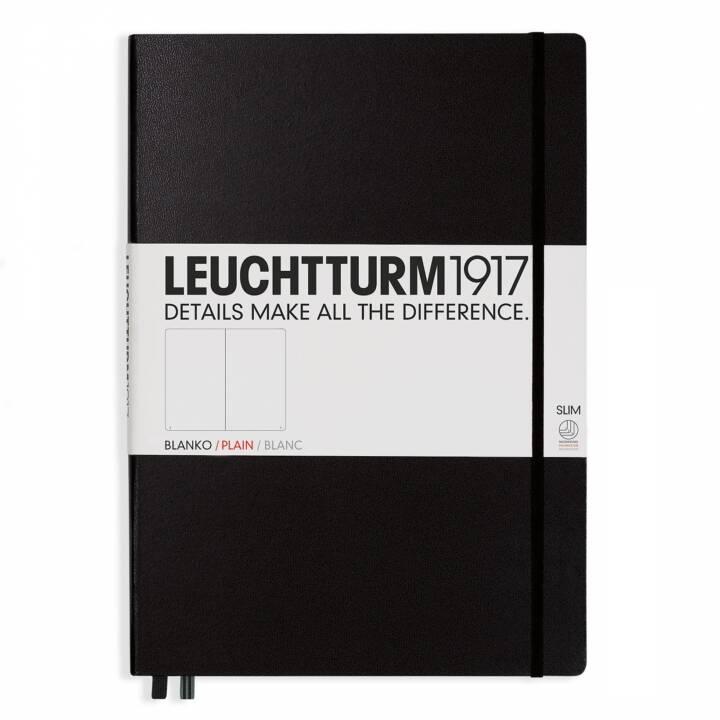 LEUCHTTTTURM Maître Cahier Slim A4, Uni, Noir