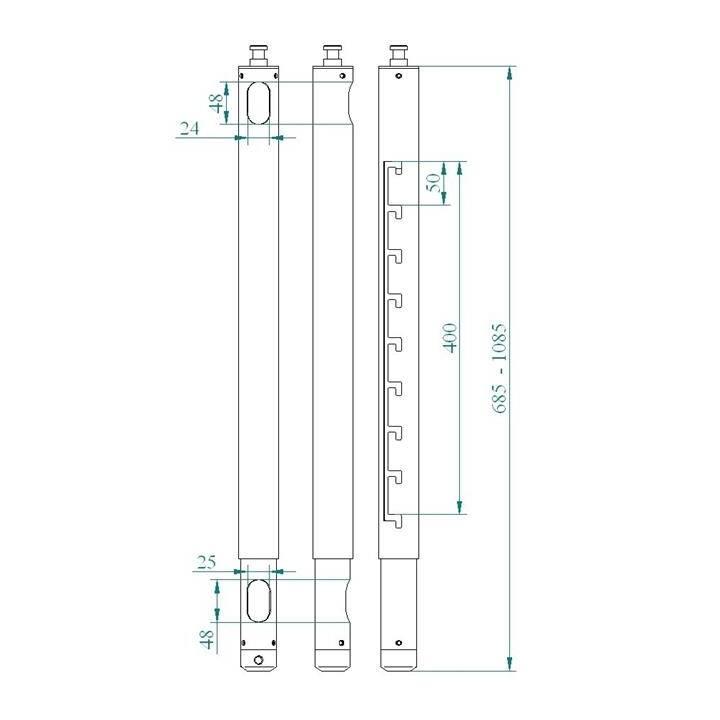 EUROMET Verlängerung ARAKNO 65-105cm Schwarz