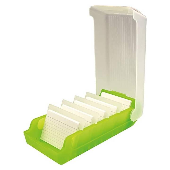 HELIT Boite à fiches (A8, Transparent, Vert, Ligné, 1 pièce)