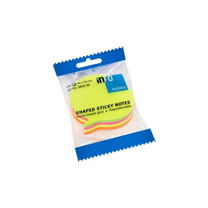 INFO NOTES Notes autocollantes (7 cm x 7 cm, Multicolore)
