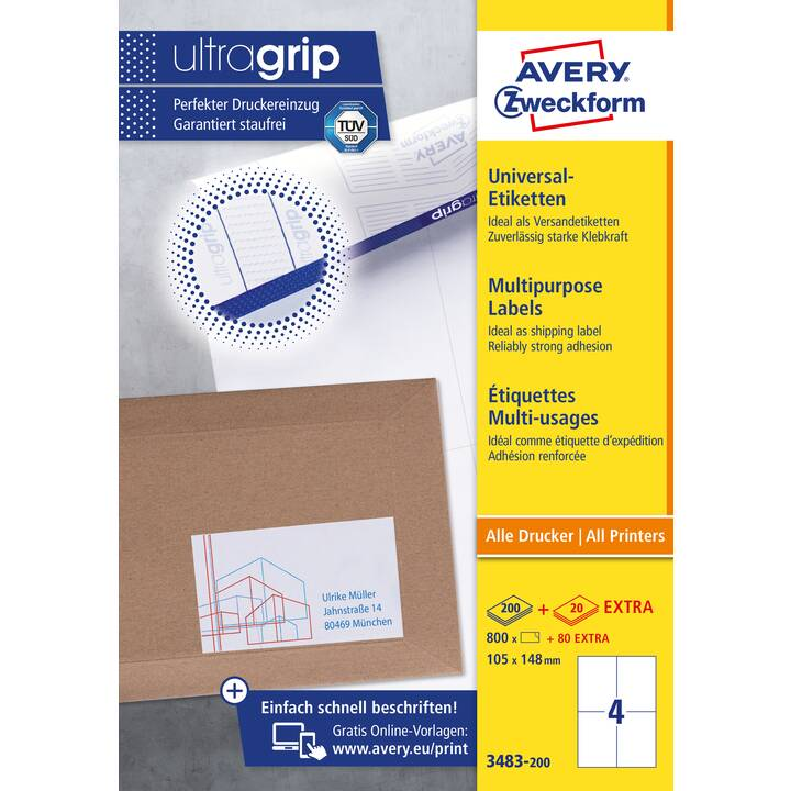 AVERY ZWECKFORM 3483-200 ultrgrip Ettiquettes (A4, 105 x 148 mm, 220 feuille)